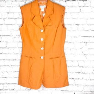 NEW-Vntg Separate Ellements Long LinenFitted Vest